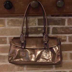 Handbags - Gold metallic satchel